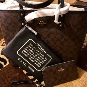 Coach Reversible Tote and Wallet Set